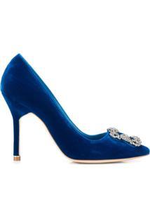 Manolo Blahnik Scarpin Hangisi Com Fivela - Azul