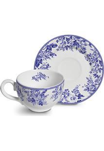 Conjunto Xicaras Chá Cerâmica C/Pires 300Ml Garden 4Pcs Cj12