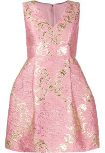Dolce & Gabbana Vestido Floral Em Jacquard E Lamé - Rosa