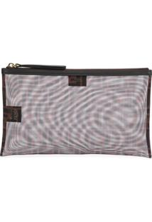 Fendi Two-Toned Ff Clutch - Marrom