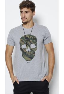 Camiseta Caveira Com Termocolantes- Cinza Claro & Verde Javali