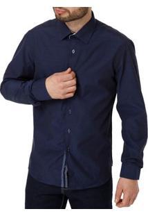 Camisa Manga Longa Masculina Azul Marinho