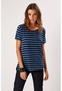 T-Shirt Malha Listras Casual Sacada Feminina - Feminino-Azul