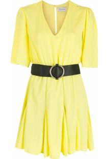 Olympiah Vestido Bicorne Com Cinto - Amarelo