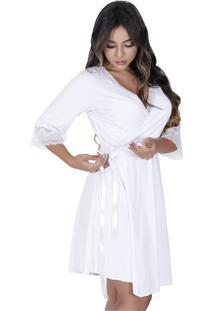 Robe Estilo Sedutor Em Microfibra E Renda Com Manga Branca - Vf45 - Branco - Feminino - Dafiti
