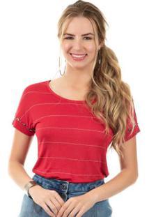 Blusa Com Pedraria Vermelho