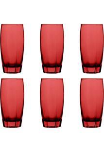 Conjunto De Copos Com 6 Unidades Dynasty Transparente Vermelho 400 Ml
