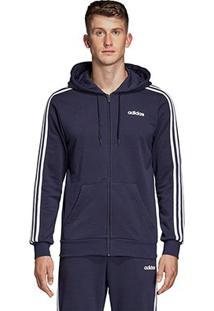 Jaqueta Adidas 3S Com Capuz Masculina - Masculino-Marinho+Branco