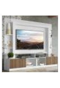 """Rack Estante Com Painel Tv 65"""" E 2 Portas Oslo Multimóveis Branco/Madeirado"""
