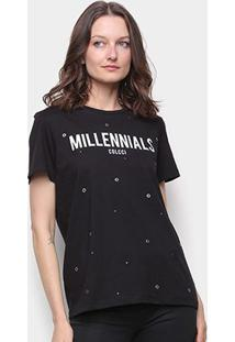 Camiseta Colcci Millennials Ilhós Feminina - Feminino-Preto