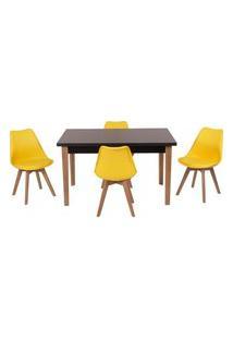 Conjunto Mesa De Jantar Luiza 135Cm Preta Com 4 Cadeiras Leda - Amarelo
