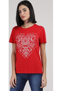 Blusa Feminina Coração E Texto Manga Curta Decote Redondo Vermelho