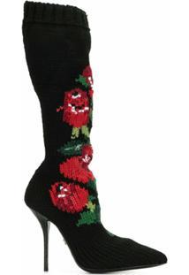 Dolce & Gabbana Bota De Tricô Com Padronagem Floral - Preto