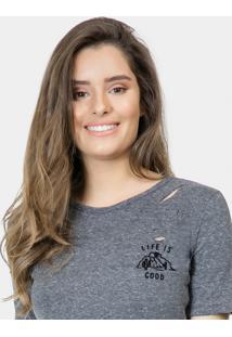 Blusa Bordado Destroyed Malha Mescla Escuro - Lez A Lez