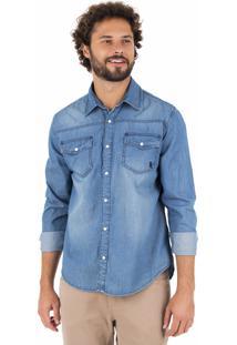 Camisa Side Walk Camisa Jeans Bolso Azul Marinho