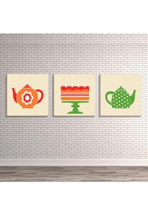 Conjunto De 3 Telas Decorativas Estilo Ilustraã§Ã£O ÍCones Chaleiras E Bolo - Montada: 40X126Cm (A-L) Unico - Off-White - Dafiti