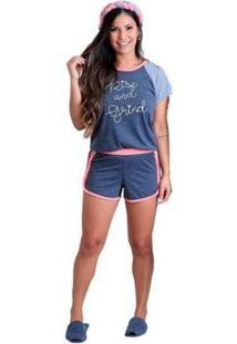 Pijama Baby Doll Verão De Calor Tecidos Leves Feminino - Feminino-Chumbo