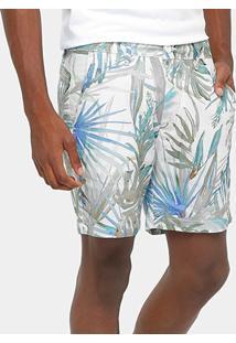 Bermuda Calvin Klein Linho Flores Masculina - Masculino