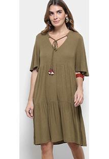 Vestido Cantão Evasê Curto Boho Decote V Amarração - Feminino-Verde Escuro