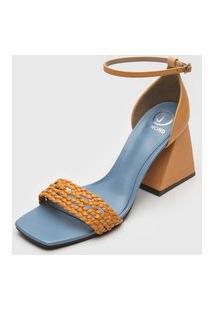 Sandália Dumond Tressê Amarelo/Azul