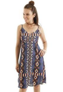 Vestido Curto Alcinha Estampa Geometrica Com Alça Dupla Aha Feminino - Feminino