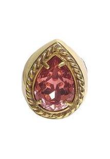 Anel Armazem Rr Bijoux Cristal Swarovski Gota Rosa Dourado - Feminino