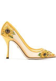 Dolce & Gabbana Scarpin Bordado Salto Alto - Amarelo
