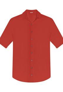 Camisa Manga 3/4 Saída De Praia Vermelho Figo - Lez A Lez