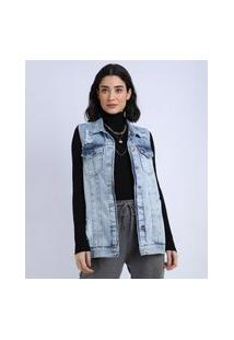 Colete Jeans Feminino Alongado Destroyed Azul Médio