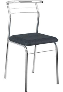 Kit 2 Cadeiras 1708 Napa Jeans Cromado Móveis Carraro Azul