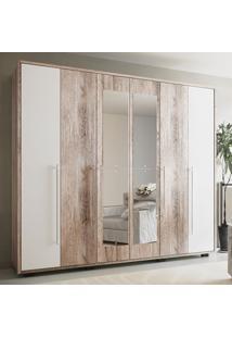Guarda-Roupa Casal 6 Portas C/ Espelho Munique - Colibri - Castanha Rústico / Branco Neve