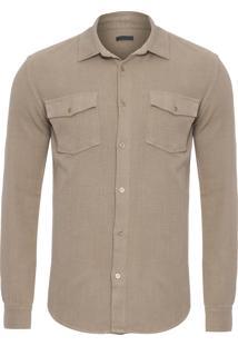 Camisa Masculina Linen Texture - Bege