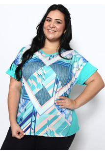 b1357701a R$ 44,99. Privalia Blusa Geométrica & Floral- Verde & Azuldoce Trama