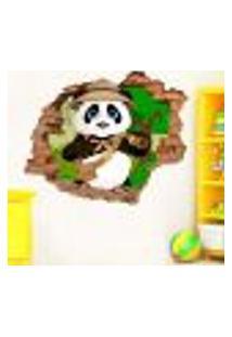 Adesivo De Parede Buraco Falso 3D Infantil Pandinha 02 - G 82X100Cm