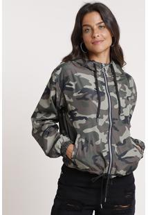 Jaqueta Corta Vento Feminina Estampada Camuflada Com Capuz Verde Militar