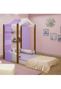 Cama Montessoriana Casa Solteiro Com Voal Lilã¡S Casah - Branco/Roxo - Dafiti