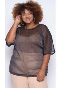 Camiseta Almaria Plus Size Alt Lux Preto