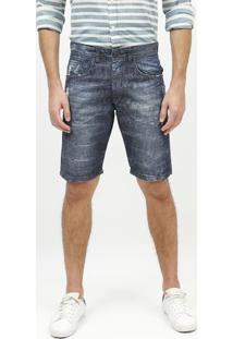 Bermuda Jeans Estonada Com Destroyed - Azul Escuroaramis