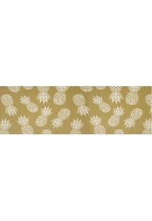 Tapete Para Cozinha Tropical Abacaxi 43X130Cm Dourado