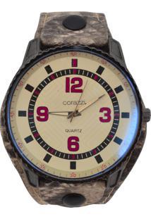 Relógio Corazzi Leather Deluxe Snake Branco E Vinho