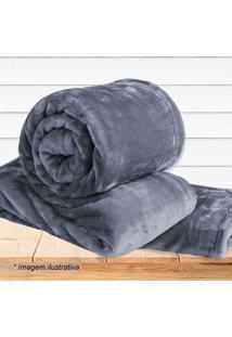Cobertor Super Soft Casal- Cinza Escuro- 180X220Cm