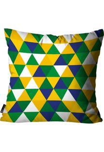 Capa Para Almofada Mdecore Geométrica Brasil Colorida 45X45Cm