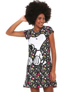 Camisola Snoopy Corações Preta