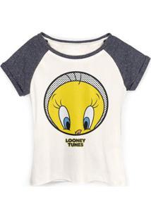 Camiseta Raglan Feminina Piu-Piu Tweety Dots - Feminino