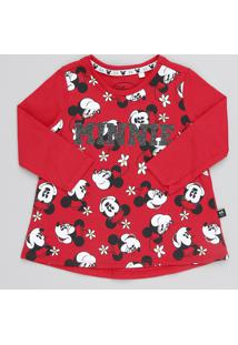 Blusa Infantil Minnie Manga Longa Decote Redondo Vermelha