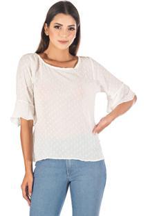 Blusa Sisal Jeans Manga 3/4 Crepe Branca
