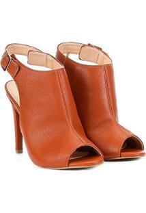 Sandália Shoestock Salto Fino Fechada Feminina - Feminino-Caramelo