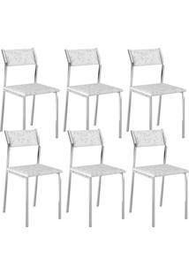Cadeira 1709 Cromada 06 Unidades Fantasia Branco Carraro