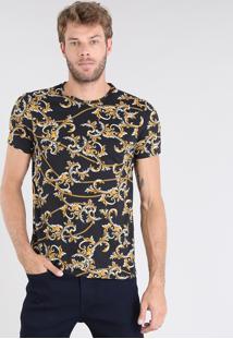 Camiseta Masculina Estampada De Arabescos Manga Curta Gola Careca Preta