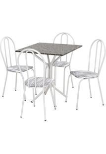 Conjunto De Mesa Thais Com 4 Cadeiras Branca Linho